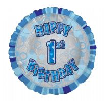 "Glitz 18"" Circle Balloon Blue - Happy 1st Birthday"